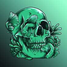 Artwork Illustration And T-shirt Design Astronaut Skull And Betta Fish