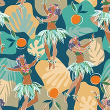 Seamless Pattern Of Hula Dancers
