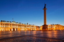 Palace Square With The Architectural Ensemble Of The Winter Palace And The Alexander Column On A White Night. Saint Petersburg, Russia