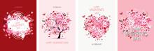 Valentine's Day Card Design. Love Tree, Art Frame, Heart Shape. Wedding Set. Wallpaper, Flyers, Invitation, Posters, Brochure, Voucher,banners.