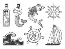 Sea Ocean Symbols Items Set Sketch Engraving Vector Illustration. T-shirt Apparel Print Design. Scratch Board Imitation. Black And White Hand Drawn Image.