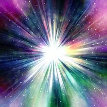 光輝く集中線、様々な色に光る星雲、中央がまぶしく光る、超新星爆発のイメージ