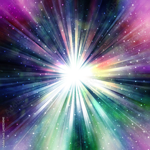 Obraz 光輝く集中線、様々な色に光る星雲、中央がまぶしく光る、超新星爆発のイメージ - fototapety do salonu