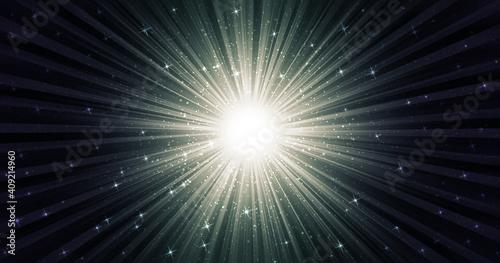 Obraz 光輝く集中線、キラキラした星がちらばる、モノトーンのグラデーション、中央がまぶしく光る - fototapety do salonu