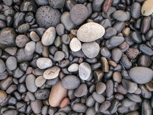 Different Colors Of Pebbles On Reunion Island East Sea Shore