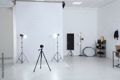 Canvas Print Photo studio interior with set of professional equipment