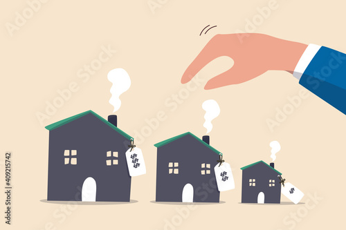 Wallpaper Mural House or mortgage affordability calculation, picking new home base on budget, income or lifestyle concept, businessman hand wisely think to picking different variant houses with price tag