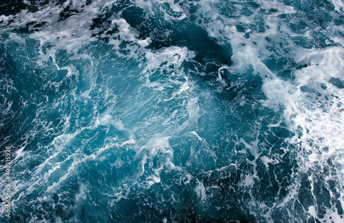 Fotografija Abstract blue sea water with white wave