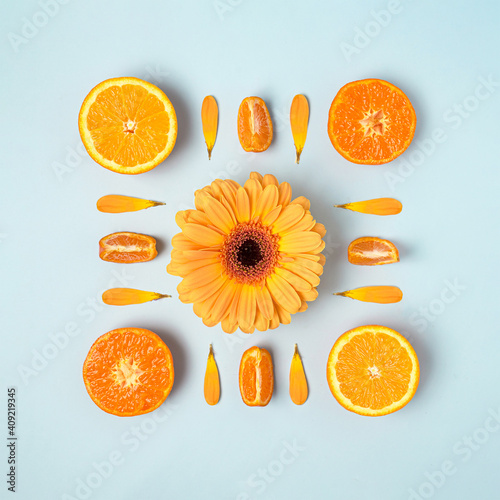 Vászonkép Orange colored tropical fruit and daisy flower arranged in square