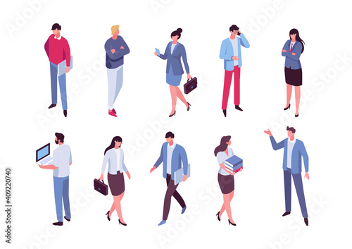 Office life. Isomeric business people vector set. Flat vector characters isolated on white background..