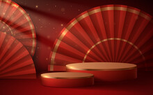 Abstract Red And Gold Podium Background With Fans And Light Effect