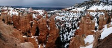 Bryce Canyon Panorama In Overcast Winter Day With Brown Rocks And Snow