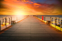 Wooden Pier At Sunset In Saltburn By The Sea, North Yorkshire, UK