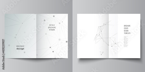 Fototapeta Vector layout of two A4 cover mockups templates for bifold brochure, flyer, magazine, cover design, book design. Gray technology background with connecting lines and dots. Network concept. obraz