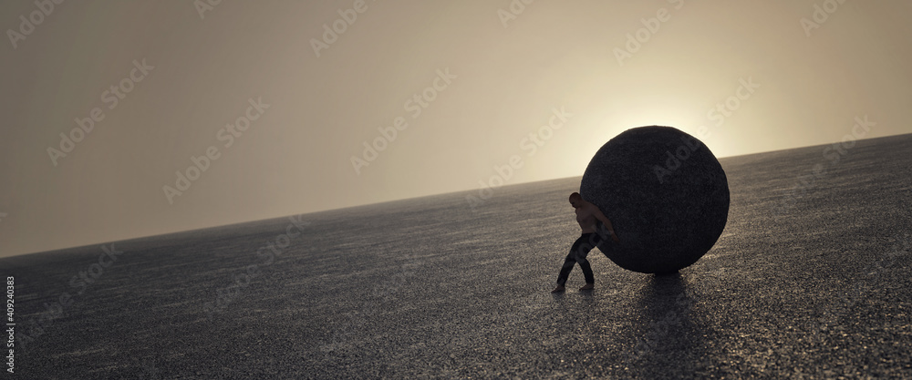 Fototapeta Ilustration of a strong man maintaining a big concrete ball, 3d rendering