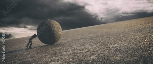 Fotografie, Obraz Man pushing a huge rock uphill, 3d rendering