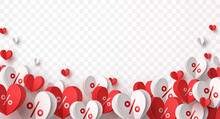 Valentine Special Offer Heart Balloons Isolated On Transparent Background. Promo Banner With Percent Off Baloons Discount Sale. Vector Pattern For Promotion, Best Price Mother's Day Design