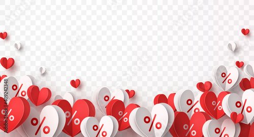 Obraz Valentine special offer heart balloons isolated on transparent background. Promo banner with percent off baloons discount sale. Vector pattern for promotion, best price Mother's Day design - fototapety do salonu