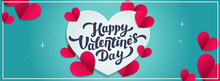 Love Day Vector Horizontal Banner Or Cover. Happy Valentine's Day Greeting With Hearts In Paper Cut Style. Vector Illustration.