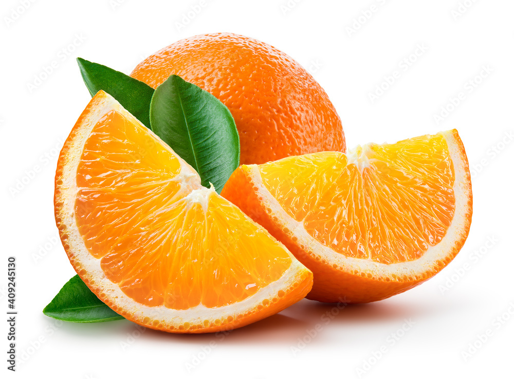 Fototapeta Orange fruit isolate. Orange citrus on white background. Whole orange fruit and a slice with leaves. Clipping path. Full depth of field.