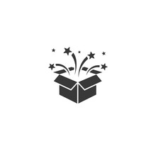 Vector Party Box Icon In Flat Vector