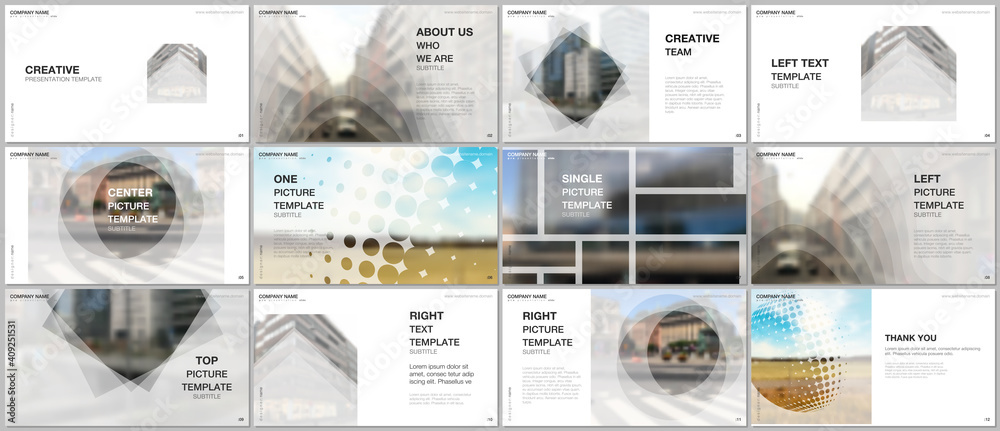 Fototapeta Presentation design vector templates, multipurpose template for presentation slide, flyer, brochure cover design, infographic report presentation. Corporate business concept with abstract ackgrounds.
