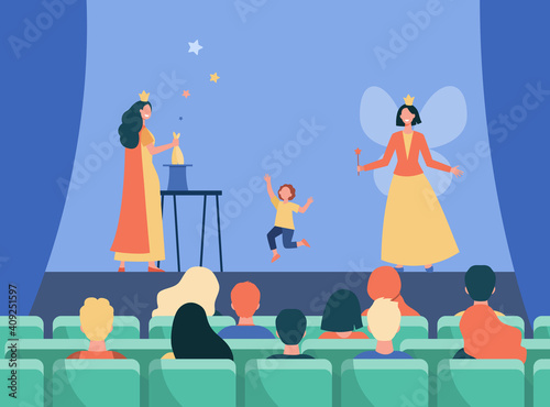 Happy animators performing on stage for kids. Magic, fairy, costume flat vector illustration. Entertainment and performance concept for banner, website design or landing web page