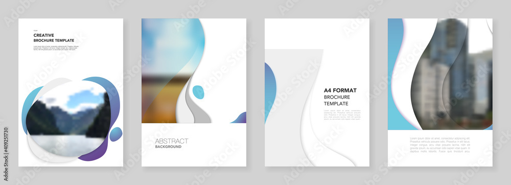 Fototapeta A4 brochure layout of covers design templates with fluid colorful trendy blue gradients geometric shapes for flyer leaflet, A4 format brochure design, report, presentation, magazine cover, book design