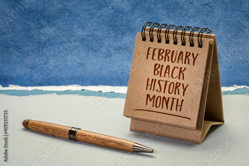 Canvas Print February - Black History Month, handwriting in a desktop calendar, an annual obs