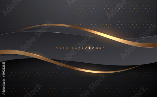 Obraz Abstract black and gold ribbons background - fototapety do salonu