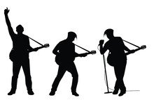 Set Of Musician With Guitar In Concert Silhouette Vector On White Background