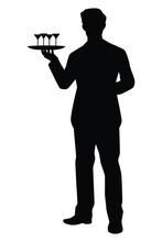 Waiter In Restaurant Silhouette Vector On White Background