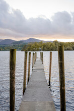 Dock Along Derwentwater Lake In Keswick, UK