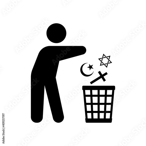 Fototapety, obrazy: a Man throw religion sign into the trash bin. Isolated Vector illustration