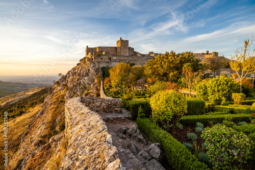 Medieval castle in Marvao at sunset, Portugal