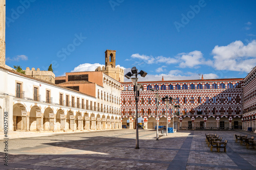 Plaza Alta square in old town of Badajoz, Extremadura, Spain
