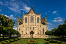 Facade Of Saint Barbara's Cathedral On Sunny Day, UNESCO, Kutna Hora, Kutna Hora District, Central Bohemian Region, Czech Republic