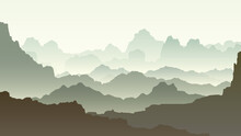 Vector Horizontal Illustration Of Morning Misty Rocky Low Mountains In Green Tone.