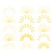 Retro sunburst. Sunrise firework sunset blast sunbeam abstract burst for emblem, logo, tag, stamp, t shirt, banner.