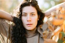 Analog Film Portrait Of A Fashionable Woman During Fall Fashion Shoot
