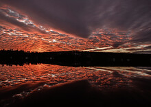 Beautiful Red Sunset Reflected In Round Pond, Livermore, Maine