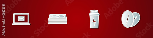 Photo Set Laptop with envelope, Stacks paper money cash, Fitness shaker and Coffee beans icon
