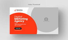 Thumbnail Design For Any Videos. Editable Video Thumbnail And Web Banner For Live Workshop Business Template. Video Cover Photo For Social Media