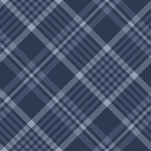 Dark Blue Plaid Pattern. Seamless Herringbone Textured Tartan Check Plaid For Duvet Cover, Blanket, Skirt, Tablecloth, Or Other Modern Autumn Winter Textile Print.