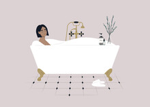 A Young Female Character Taking A Relaxing Bath With Soap Foam, A Claw Foot Vintage Tub