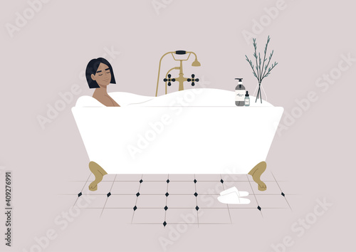Fotografering A young female character taking a relaxing bath with soap foam, a claw foot vint