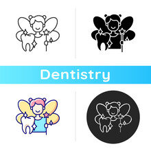 Pediatric Dentistry Icon. Painless Treatment For Dental Problems. Happy Children With Healthy Teeth. Cosmetic Dentistry. Linear Black And RGB Color Styles. Isolated Vector Illustrations