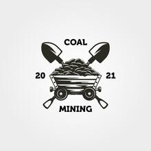 Mine Cart Coal And Shovel Logo Vintage Vector Symbol Illustration Design