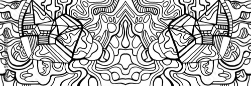Fotografie, Obraz Fantastic cyberpunk psychedelic abstract coloring page