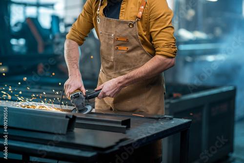 Obraz na plátne Metal industry worker at factory